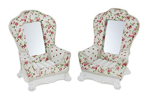 2Piece Inglés Romance Floral País Cottage silla joyería Holder Set