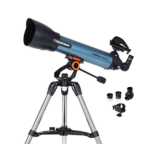 Celestron Inspire - Telescopio astronómico (100 mm de Apertura, 600 mm de Distancia Focal, f/6.5 de relación Focal) Color Azul y Negro
