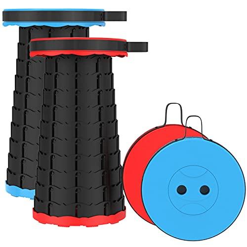 2 PCS Verbesserter Klapphocker, leicht und doch Stabiler, mit Tragfähigkeit von 180 kg, tragbarer, zusammenklappbarer Hocker, einziehbarer Hocker für Camping Garten Angeln Grillen, Rot Blau Schwarz