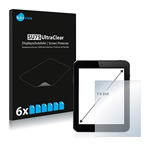 savvies Protector Pantalla Tablets con 17.8 cm (7 Pulgadas) [154.8 mm x 87 mm, 16:9] (6 Unidades) Película Ultra Transparente