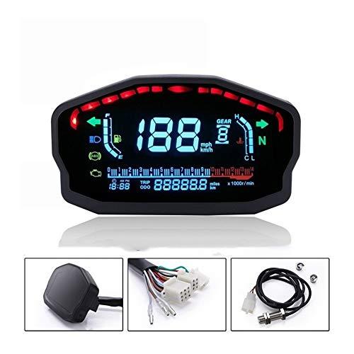 LTGJJ Kleur-LCD Motorfiets-tacho, Motorfiets-accessoires instelbare 1-6 snelheid 04.02 cilinder-digitale acho watertemperatuur oliemeter