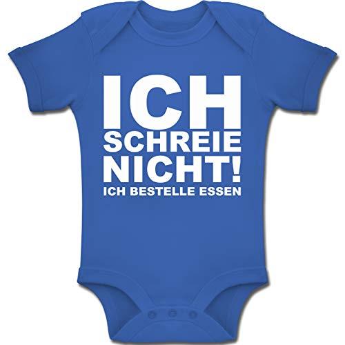Shirtracer Sprüche Baby - Ich Schreie Nicht, ich bestelle Essen! - 3/6 Monate - Royalblau - BZ10 - Baby Body Kurzarm für Jungen und Mädchen