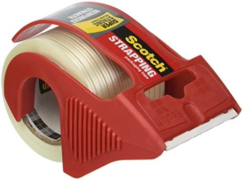 Red 1 Scotch MMM50 Reinforced Strength Shipping and Strapping Tape in Dispenser