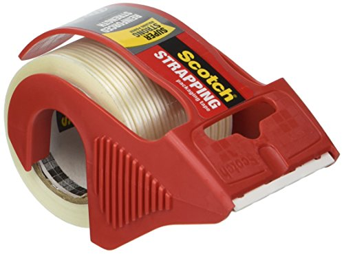 Scotch MMM50 Reinforced Strength Shipping and Strapping Tape in Dispenser, Red