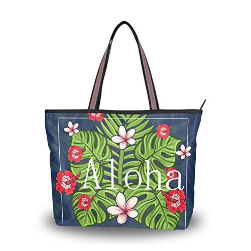Eslifey Hawaii Aloha mit tropischen Blumen Damen Handtaschen Schultertaschen für Damen Mädchen Gr. 38, multi