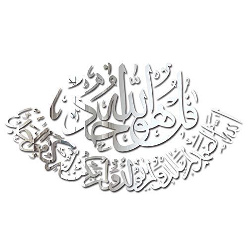 TANOU 3D Wand Aufkleber Wand Bild Muslim Aufkleber Wohnen Zimmer Schlaf Zimmer Dekoration Islamische Dekoration Haus Spiegel Wand Aufkleber Silber