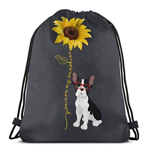 Lmtt Mochila con cordón Mochila deportiva Mochila de viaje Bolsa de viaje You Are My Sunshine Bulldog Sunflower