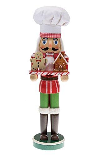 Clever Creations - Cascanueces de Navidad Coleccionable - Ideal para mesas y estanterías - 100% Madera - Cocinero con casita y muñeco de Jengibre - 38,1 cm