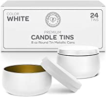 Hearts & Crafts Candle Tin Cans with Lids - 8-oz. White Tin Cans, 24-Pack - for Candles, Arts & Crafts, Storage, Gifts,...