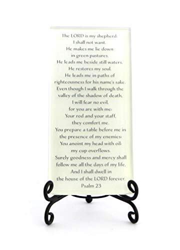 Lifeforce Glass The Twenty-Third Psalm, Comforting, Reassuring Psalm on Glass Plaque with Folding Easel. White.