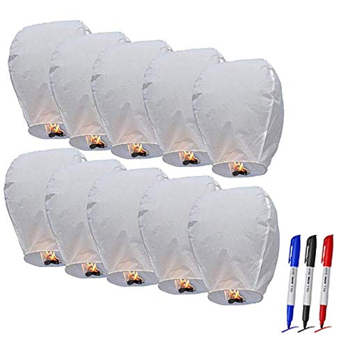 CHAOQUN Chinese Wishing Sky Lanterns 100% ECO Friendly Biodegradable Paper Sky Lanterns with Fire Resistant Paper for Weddings Birthdays Memorials and Celebration Events (10 Pack)