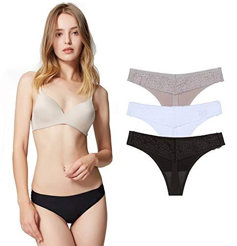 Encaje Sexy Braguita Tangas Pantalones de Mujer sin Costuras Señoras Bragas, Pack de 3 M