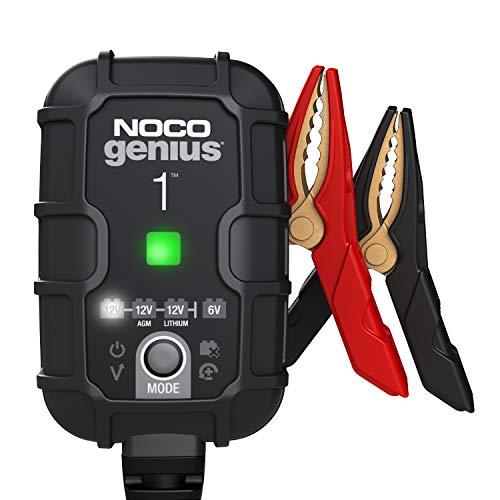 NOCO GENIUS1EU, 1A Vollautomatisches Intelligent Ladegerät, 6V und 12V Batterieladegerät, Erhaltungsladegerät, und Desulfator für Auto, Motorrad, KFZ, LKW, PKW, Boot, Roller, Wohnmobil und Wohnwagen