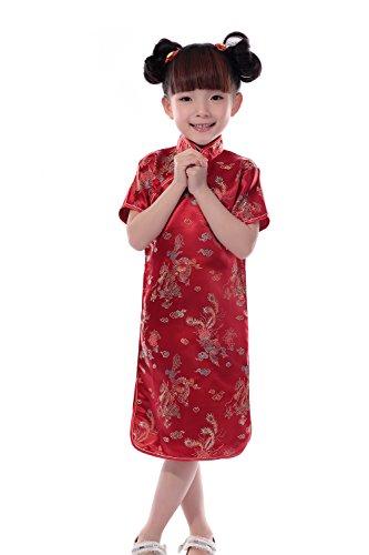 JTC Kinder Mädchen Satin Mandarin Kleid Cheongsam künstlich Seide Kleider Chipao Qipao Hochzeit Party Cocktailkleid Chinesisch Asiatisch (S: 1 Jahren, Rot)