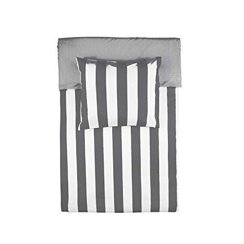 Walra Wendebettwäsche Everline anthrazit 1 Bettbezug 135x200 cm + 1 Kissenbezug 80x80 cm