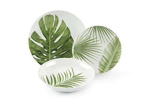 Excelsa Foliage - Vajilla de 18 piezas de porcelana