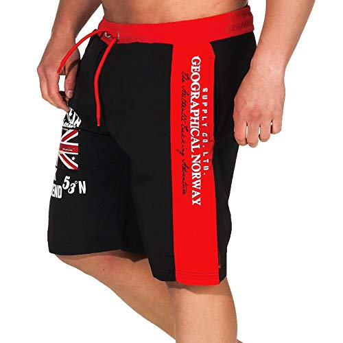Geographical Norway Herren Badeshorts Quodesh mit Patches Knielang Black M