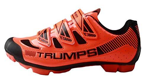 Insun Hombre Zapatillas de Ciclismo con Suela de Carbono y Ademas de Puntera de Refuerzo Montaña Naranja/Velcro 43 EU
