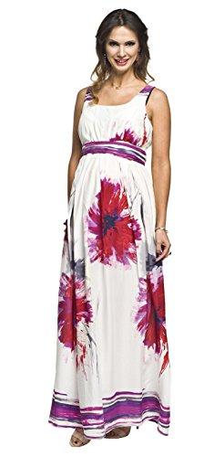 Sommerkleid für Schwangere und Nicht-Schwangere Damen, Umstandskleid, Modell: Maxi, Creme-Amaranth, L