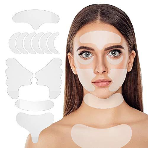 Anself Anti Falten Wiederverwendbare 11-teilige Anti-Falten-Gesichtspads Silikon-Gesichtspflaster für die Behandlung von Oberlippen- und Brustfalten für Augen, Augen, Mund und Brust