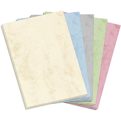 50 Blatt Briefpapier (A4) | Bunter Marmor Mix (5 Farben) | Motivpapier Set | edles Design Papier | beidseitig bedruckt | Bastelpapier | 90 g/m²