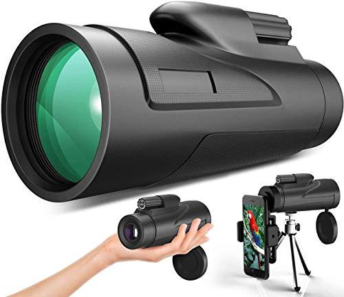 Gafild monocular 12 x 50 HD Telescopio Impermeable monoculo telescopio portatil para viajes de caza, juego de pelota, concierto con Adaptador de Soporte para Smartphone y trípode