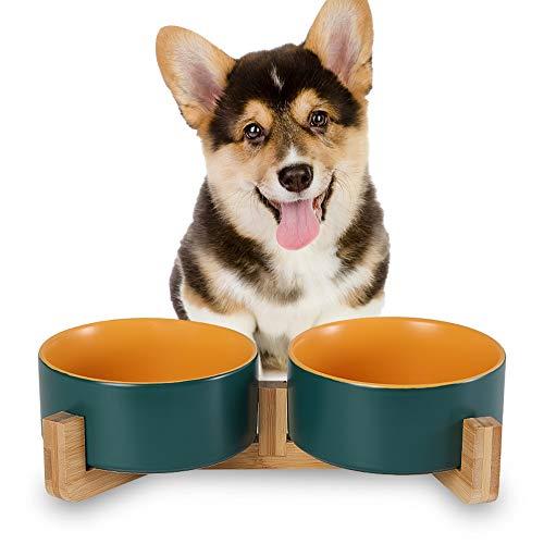 HCHLQLZ Grün Gelb Keramik Hundenapf Futternapf Fressnapf Napf für Hund Katzen mit Massivholz Ständer(2 Stück)