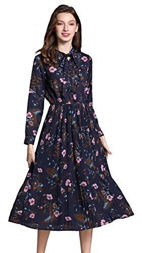 shineflow Damen Sommer Blumendruck Lange Ärmel elastische Taille Plissee Kleid Knielänge (S, Blau)