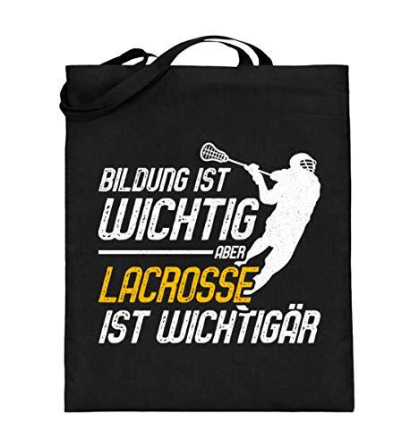 Chorchester Lacrosse - Bildung ist Wichtig - Jutebeutel (mit langen Henkeln) -38cm-42cm-Schwarz