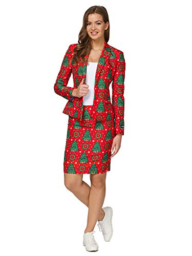 Suitmeister Ugly Christmas Dress Suit for Women - Christmas Trees - Includes Skirt & Jacket - US12 - L