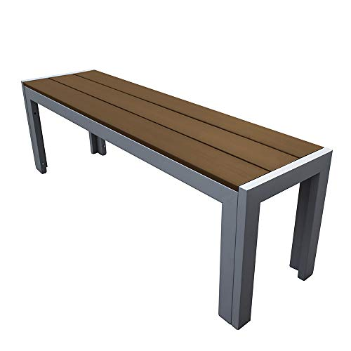 Trueshopping Malmo Polywood Outdoor Garden Bench with Aluminium Frame in Natural - Durable Weatherproof Garden Furniture, Easy Care for Patios, Decking, Terraces and Balconies