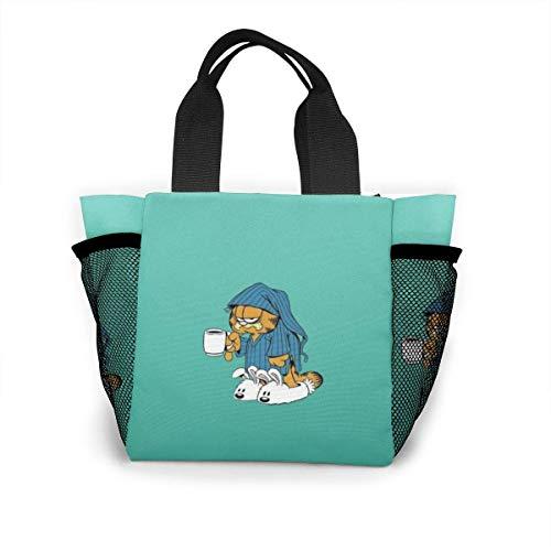 XCNGG Bolsa de almuerzo con aislamiento de Garfield de dibujos animados, reutilizable, para picnic, para almuerzo, viaje, trabajo, playa, canotaje, lonchera portátil para mujeres / hombre / picnic / p
