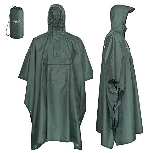 AWHA Regenponcho dunkelgrün/Unisex – der extra Lange Regenschutz mit Reißverschluss und Brusttasche