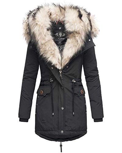 Navahoo 2in1 Damen Winter Jacke Parka Mantel Winterjacke warm Fell B365 [B365-Schwarz-Gr.L]