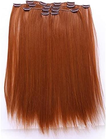 Prettyland - K170 Extensión de cabello, Peluca lisa a 50 cm larga con 7 piezas - R01 Rojo cobre naranja