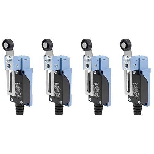 YeVhear 4 PcsTZ-8108 Interruptor de final de carrera, brazo de palanca de rodillo ajustable 1NC + 1NO para interruptor de puerta de impresora 3D de molinillo CNC