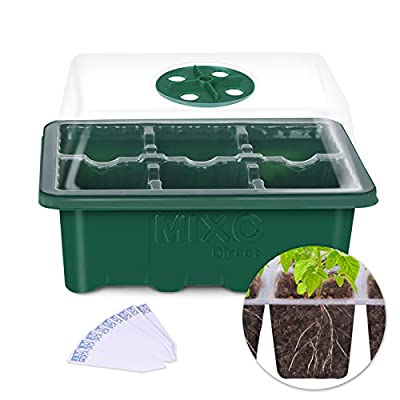 MIXC Seed Starter Tray Seedling Trays Plant Grow Kit Propagators with Lid and Base Vented Humidity Domes Transparent Cover for Succulent Seeds Germination Horticulture Growing 9-inch,3pack