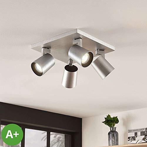 Lampenwelt Strahler 'Iavo' dimmbar (Modern) in Alu aus Metall u.a. für Küche (4 flammig, GU10, A+) - Deckenlampe, Deckenleuchte, Lampe, Spot, Küchenleuchte