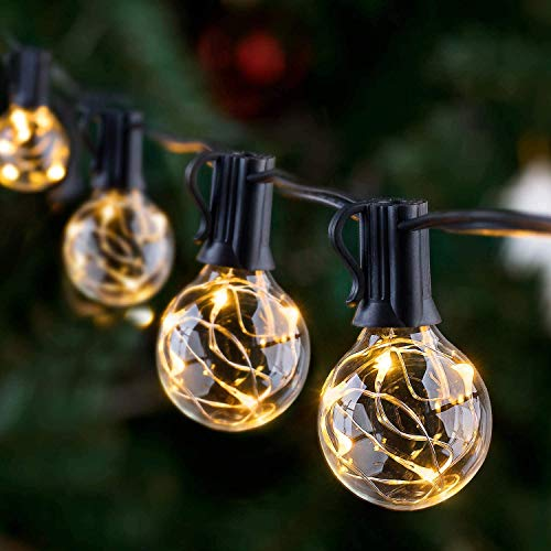 Outdoor String Lights, GlobaLink 11.7m G40 LED Festoon Lights Outdoor,IP65 Waterproof Outside Globe Garden Lights 30 Bulbs for Indoor Outdoor Christmas Decor Patio Garden Yard Wedding Party Decoration