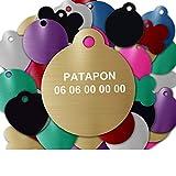GRAVURE CONCEPT Médaille pour Chien Et Chat À Personnaliser – Médaillon Gravé 27 mm - 1 à 2 Lignes – 8 Couleurs Disponibles (Or, Rond)