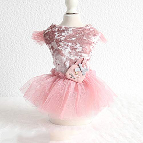 AYDQC. New Velvet Bow Decor Garn Hundekleid Graue Farben Warme Röcke für Haustiere Hundezubehör Tutu Princess Kleider für Hunde (Color : Pink, Size :...