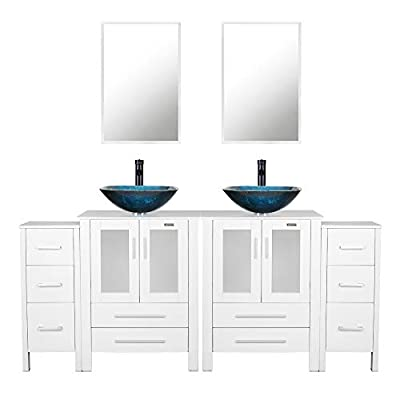 eclife 72'' Bathroom Vanity Sink Combo W/White Side Cabinet Vanity Turquoise Square Tempered Glass Vessel Sink & 1.5 GPM Water Save Faucet & Solid Brass Pop Up Drain, With Mirror (2A10 2B02W 2B11W)