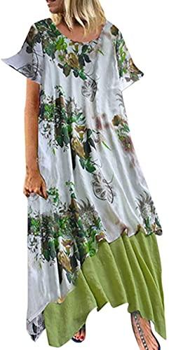 BUTERULES Maxi Dress for Women Vintage Print Floral Feminino Vestido Cotton Casual O-Neck Plus Size Ladies Dresses
