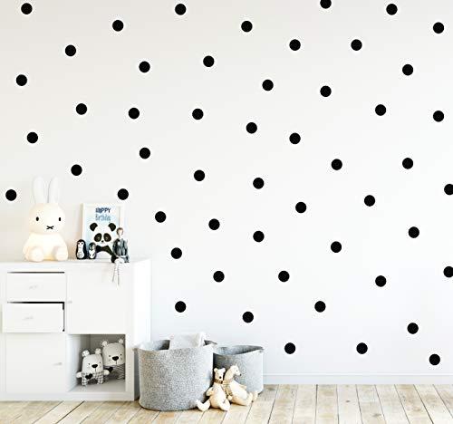Punkte Set 70er an der Wand Wandtattoo Polka Dots Tupfen Babyzimmer Wandsticker Vinyl DIY Wandaufkleber (Schwarz)