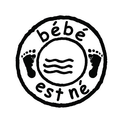 Aladine - Tampon Naissance - Support En bois - Réalisation de Faire Part de Naissance - Scrapbooking et Carterie Créative - Motif Timbre Bébé est Né