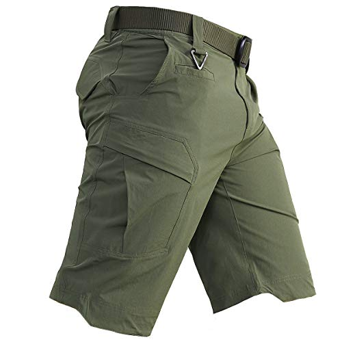 CARWORNIC Men's Quick Dry Tactical Shorts Lightweight Stretch Outdoor Hiking Cargo Shorts with Multi Pockets Army Green
