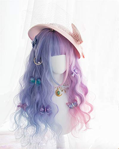 KONNIQIWA Lolita Wig Purple Mixed Blue 25.5 inch Long Curly Bangs Party Wigs for Women Girls (Only Wig)