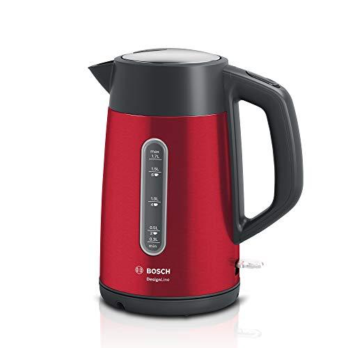 Bosch TWK4P434 DesignLine kabelloser Wasserkocher, Ausgießen ohne Spritzer, Tassenanzeige, Wasserstandsanzeige beidseitig, Überhitzungsschutz, 1,7 L, 2400 W, rot