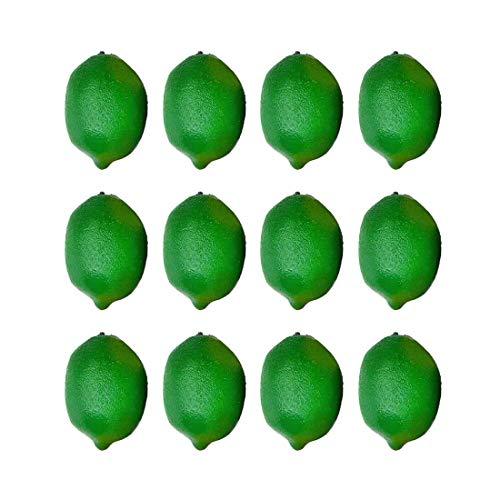 """Lorigun 12 Piezas 2.9""""X 2"""" Limones Verdes Artificiales, Limones Falsos para la Decoración del Hogar, Limones para la Decoración de la Fiesta de Navidad de Kichen, Limones Artificiales de Lima Verde"""