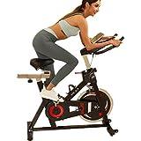 HEKA Bicicleta estática con monitor de frecuencia cardíaca, volante de inercia pesado (Negro)